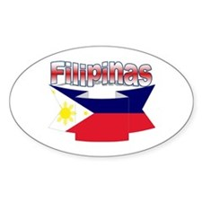 Philippines flag ribbon Oval Decal