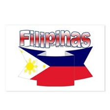 Philippines flag ribbon Postcards (Package of 8)