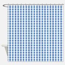 Small Blue Gingham Shower Curtain