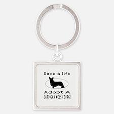 Adopt A Cardigan Welsh Corgi Dog Square Keychain