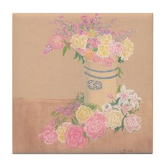 Country Urn Bouquet Tile Coaster