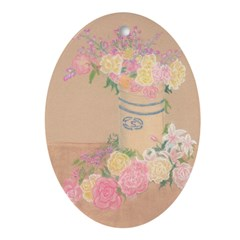 Country Urn Bouquet Oval Ornament