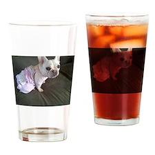 Funny White french bulldog Drinking Glass