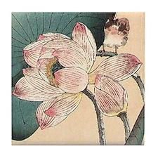 Art Deco Lotus Flower Tile Coaster