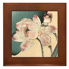 Art Deco Lotus Flower Framed Tile