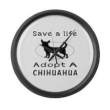 Adopt A Chihuahua Dog Large Wall Clock