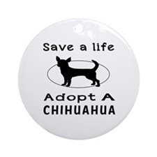 Adopt A Chihuahua Dog Ornament (Round)