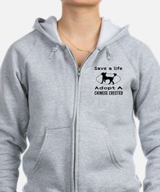 Adopt A Chinese Crested Dog Zip Hoodie