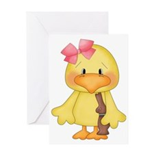 Easter Chick with Chocolate Bunny Greeting Card