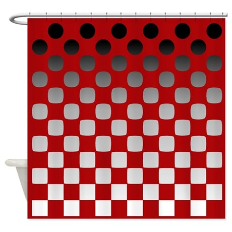 Black To White On Red Shower Curtain By Jqdesigns
