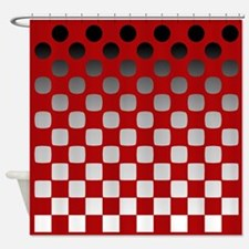 Black to White on Red Shower Curtain