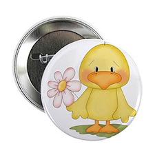 """Chicken with flower 2.25"""" Button"""