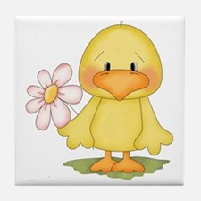 Chicken with flower Tile Coaster