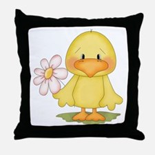 Chicken with flower Throw Pillow