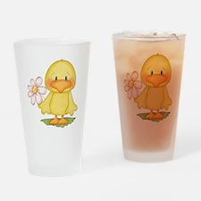 Chicken with flower Drinking Glass