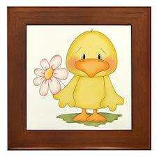 Chicken with flower Framed Tile