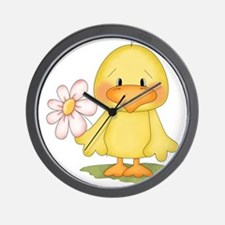 Chicken with flower Wall Clock