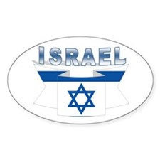 The israeli flag ribbon Oval Decal