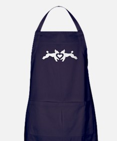 White Poodles with a Heart Apron (dark)