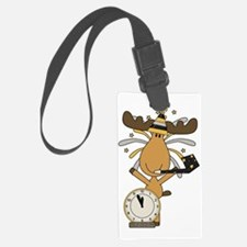 New Years moose Luggage Tag