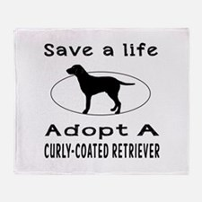 Adopt A Curly-Coated Retriever Dog Throw Blanket