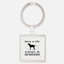 Adopt A Curly-Coated Retriever Dog Square Keychain