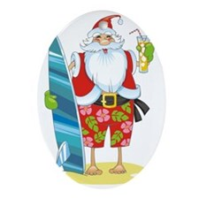 surf santa Oval Ornament
