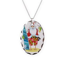 surf santa Necklace Oval Charm