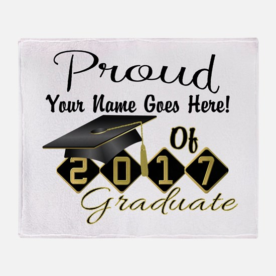 Proud 2017 Graduate Black Throw Blanket