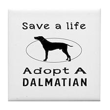 Adopt A Dalmatian Dog Tile Coaster