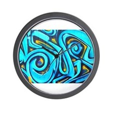 Blue Graffiti Wall Clock