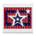 USA Star Red, White and Blue Tile Coaster
