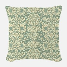Vintage Damask Green Woven Throw Pillow