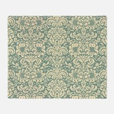Vintage Damask Green Throw Blanket