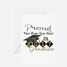 Proud 2017 Graduate Black Greeting Cards