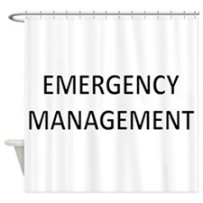 Emergency Management - Black Shower Curtain