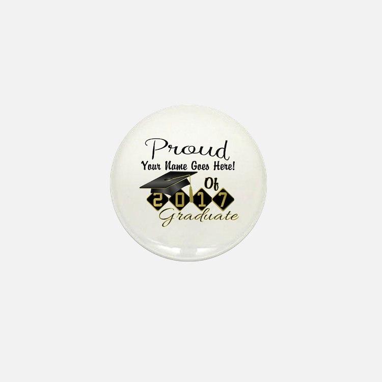 Proud 2017 Graduate Black Mini Button