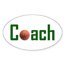 Basketball Coach Green Oval Decal