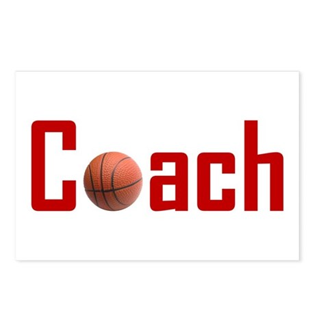 Basketball Coach Dark Red Postcards (Package of 8)