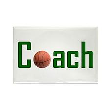 Basketball Coach Green Rectangle Magnet