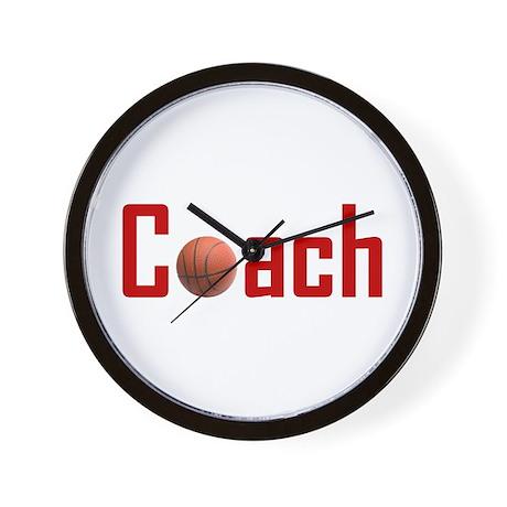 Basketball Coach Dark Red Wall Clock