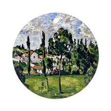 Cezanne: Landscape with Waterline Round Ornament
