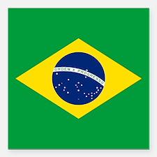 """Flag of Brazil Square Car Magnet 3"""" x 3"""""""