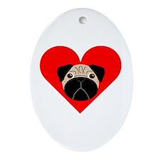 Fawn Valentine Pug Oval Ornament