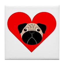Fawn Valentine Pug Tile Coaster