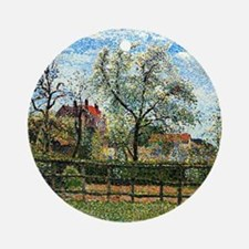Pissarro: Pear Tree and Flowers at  Round Ornament
