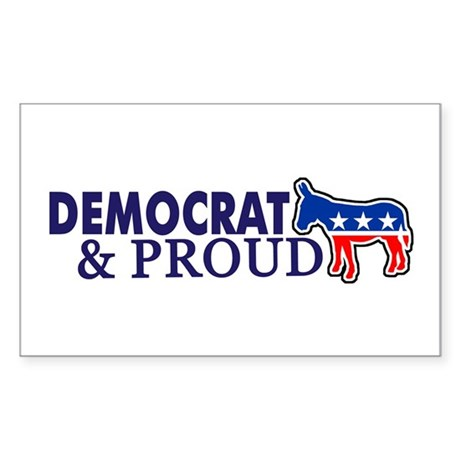Democrat & Proud Rectangle Sticker