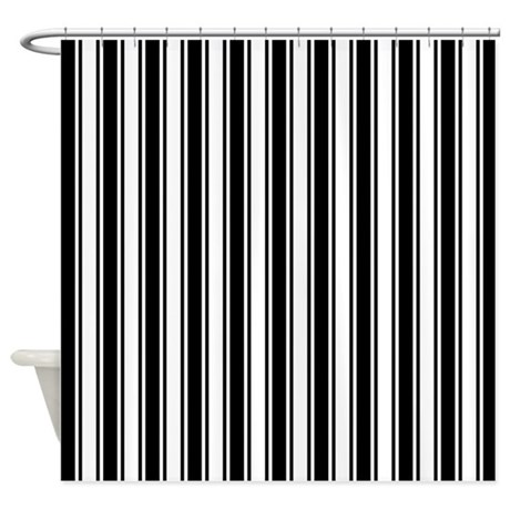 Black White Ticking Stripe Shower Curtain By Artandornament