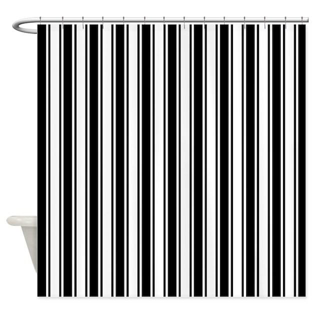 Black White Ticking Stripe Shower Curtain by artandornament