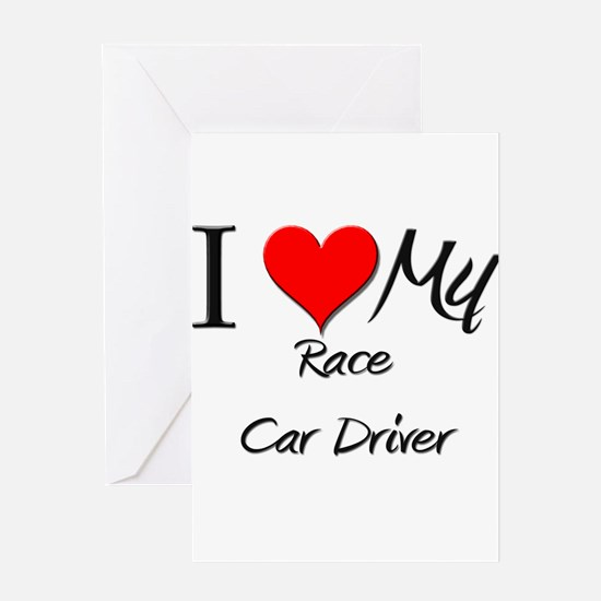 I Heart My Race Car Driver Greeting Cards